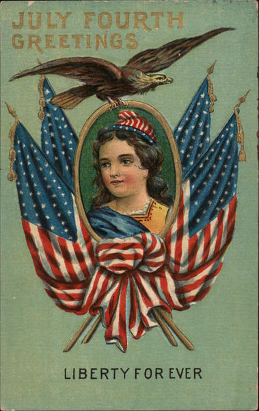 July Fourth Greetings: Woman Framed with Flags Patriotic