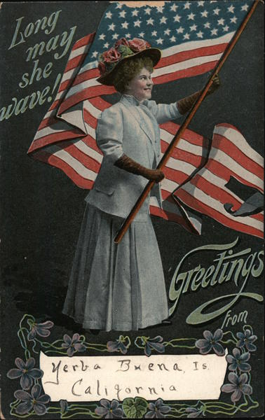 Woman Waving Flag: Long May She Wave! Patriotic