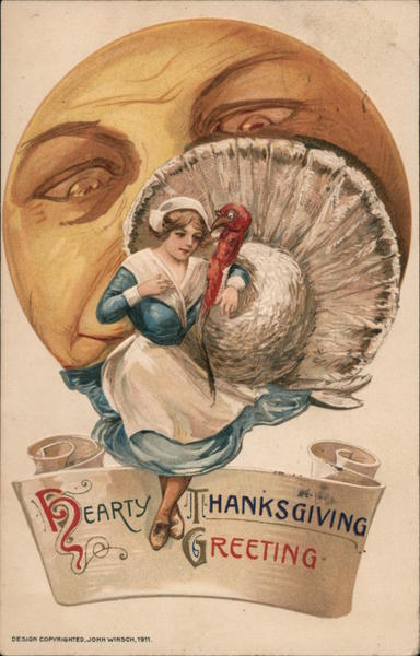 Hearty Thanksgiving Greeting Samuel L. Schmucker Turkeys
