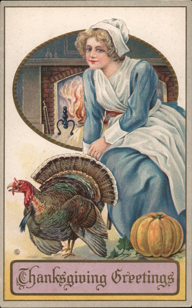 Pilgrim Woman and Turkey - Thanksgiving Greetings Women