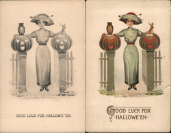 "Lot of 2: Color & B&W Version ""Good Luck For Halloween"" Postcard"