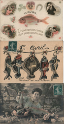 Lot of 3: French 1er Avril April Fish Postcard