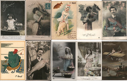 Lot of 10: French April Fish 1er Avril Postcard