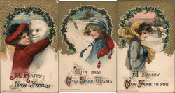 Set of 3: Winter Women, Snowman Postcard