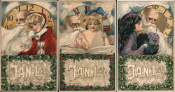 Set of 3: Women with Father Time Postcard