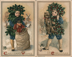 Set of 2: Rare Children with Holly Fantasy Postcard