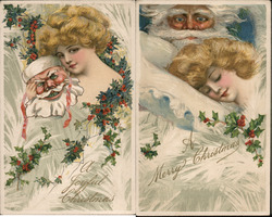 Set of 2: Woman with Santa Postcard