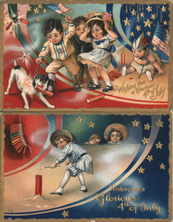 Set of 2: Children Celebrating Fourth of July Series #5 Postcard