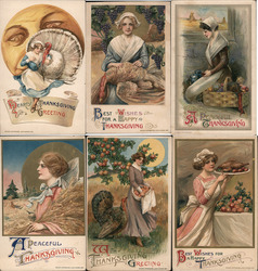 Lot of 6: Pilgrim Women on Thanksgiving Postcard