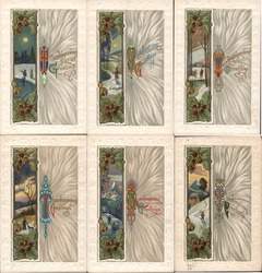Set of 6: Art Nouveau / Arts & Crafs Style Thanksgiving Series 937