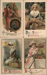 Set of 4: Women, Pilgrims, Native Americans Postcard