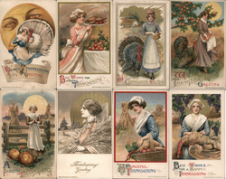 Lot of 8: Women on Thanksgiving Postcard