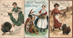 Set of 3: Women on Thanksgiving Postcard