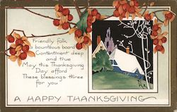 A Happy Thanksgiving - House on Hill Postcard