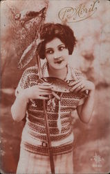 1er Avril: Woman Catching Fish Postcard