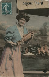 Joyeaux Avril: Woman With Fish Postcard