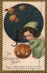 Rare: The Hallowe'en Night: Girl With Pumpkin and Black Cat Postcard