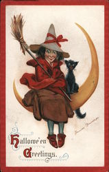 Witch and Cat on Moon - Hallowe'en Greetings Postcard