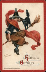 Hallowe'en Greetings: Witch and Cat on Broom Postcard