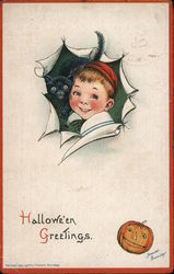 Hallowe'en Greetings: Boy with Black Cat Postcard