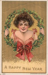 A Happy New Year: Woman in Wreath Postcard
