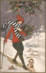 Bonne Annee: Woman on Skis Carrying Holly Postcard