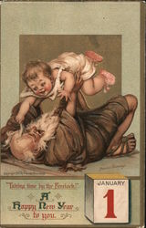 Old Man Time and Baby: A Happy New Year to You Postcard