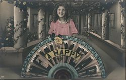 A Happy New Year: Girl Holding Fan Postcard