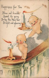 Two Kewpies Blowing Out Candles on Bannister Postcard