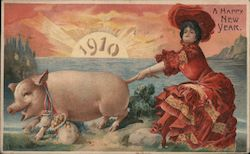 A Happy New Year 1910: Woman in Red with Pig and Coins Postcard