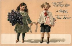 Wishing You a Happy New Year: Two Children With Horseshoe Postcard