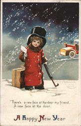 Girl in Snow With Suitcase: A Happy New Year Postcard