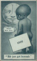Happy New Year 1908: Black Boy and Clock in Moon Postcard