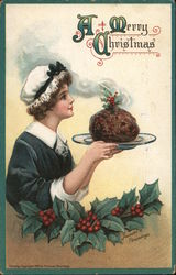 A Merry Christmas: Maid Serving Christmas Pudding Postcard