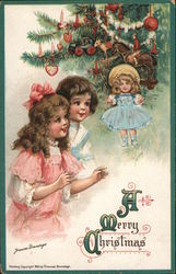 A Merry Christmas Children and Doll Postcard