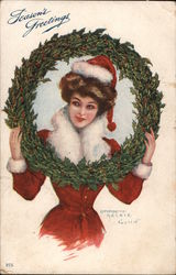 Seasons Greetings - Woman with Wreath