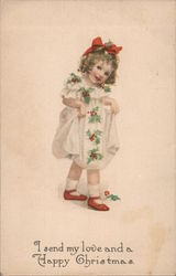 I Send My Love and a Happy Christmas - Little Girl in Holly Dress Postcard