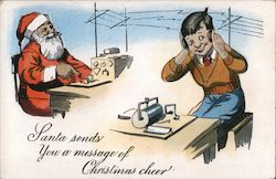 Santa Sends You a Message of Christmas Cheer Postcard