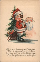 Child in Santa Suit with Santa Claus Mask Postcard