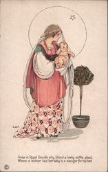 Madonna and Child in Draping Robes Stand Near A Holly Topiary Postcard