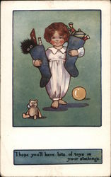 Child Holding Stockings Full of Toys Postcard