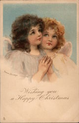 Wishing You a Happy Christmas: Two Angels Postcard