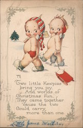 Two Naked Babies Pulling a Sled Through the Snow Postcard