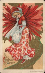 Christmas Wishes - Lady with Red Flowers Postcard