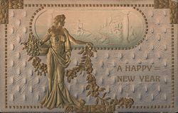 Embossed Grecian Lady - A Happy New Year Postcard