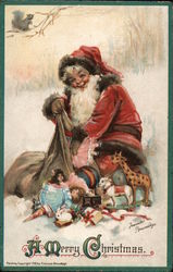 A Merry Christmas - Santa with Bag of Toys Postcard