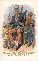 Uncle Sam and Children with Fireworks Postcard