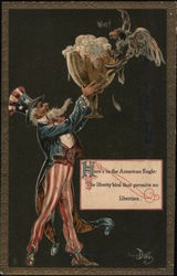 Uncle Sam Sharing Beer with Eagle Postcard