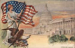 Lady Liberty with Flag and Eagle Watching Capitol Building Postcard