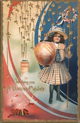 Girl with Lit Lamp: Wishing You a Glorious 4th of July Postcard